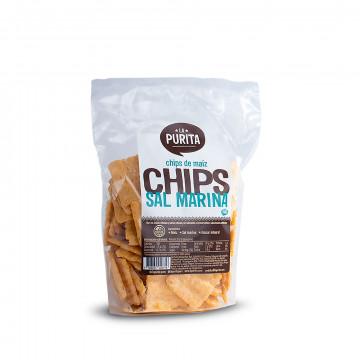 Chips de maíz y sal marina...